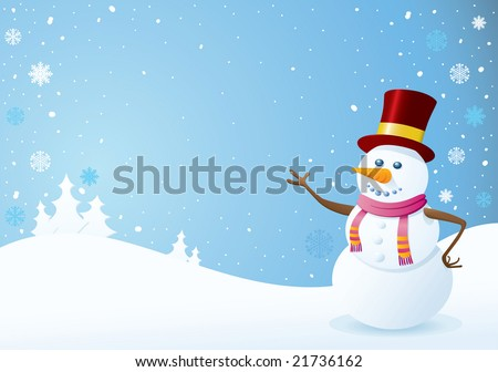 Snowman on Christmas Background. Christmas Backgrounds Series. - stock vector