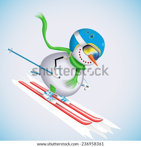 Snowman on skis rides down the hill. Winter fun. Vector illustration. - stock vector