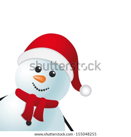 snowman red hat isolated background