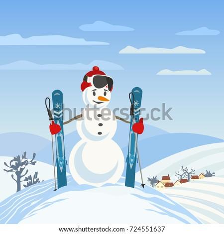 Snowman Rural Skier Mountain Valley Man Stock Vector ...