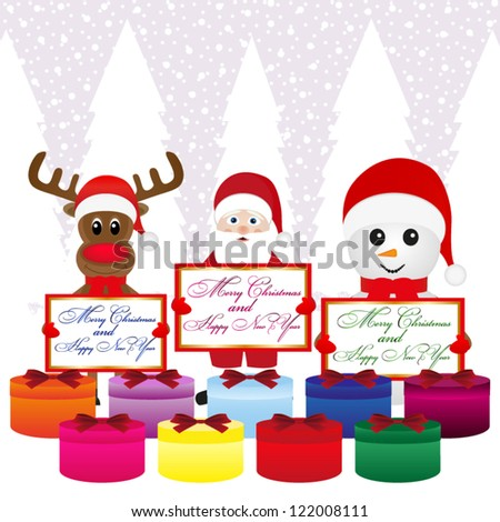 Snowman, Santa Claus, reindeer with banners and presentations - stock vector