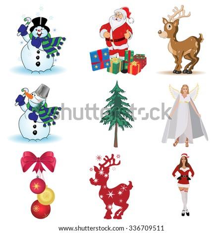 Snowman, Santa, deer, gifts, Christmas tree, guardian angel, helper, vector illustration - stock vector