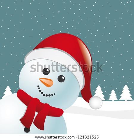 snowman scarf santa claus hat winter landscape - stock vector
