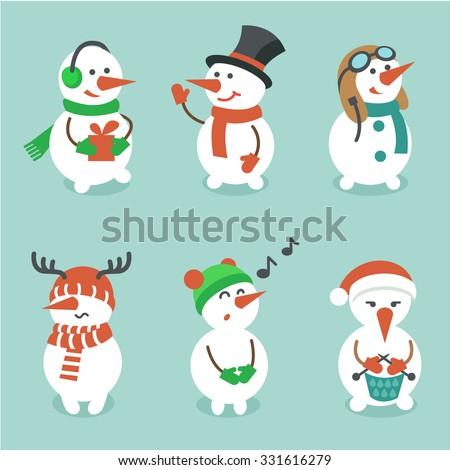 Snowman set, vector illustration - stock vector
