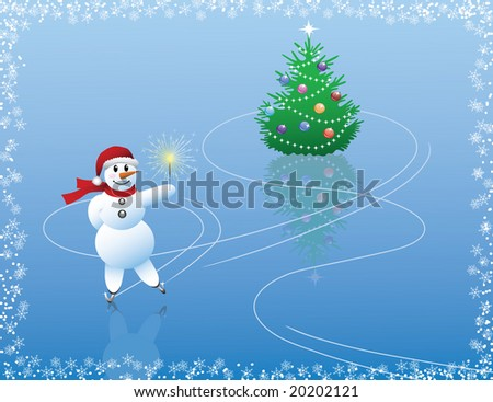 Snowman skating around  the Christmas tree. - stock vector