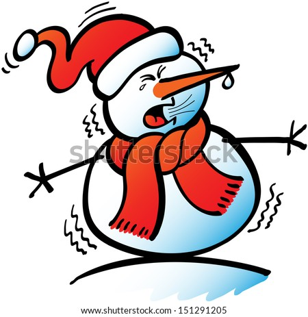 Snowman suffering from a strong flu because of the intense cold while clenching his eyes, shivering, dripping snot and about to sneeze violently - stock vector