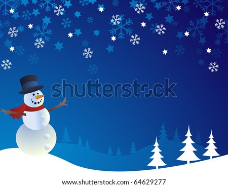 Snowman, vector illustration - stock vector