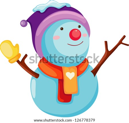 Snowman. Vector illustration on white background