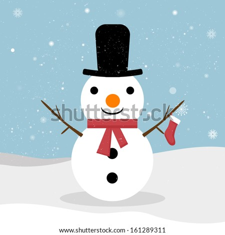Snowman. Vector snowman. Snowman greeting. Cute Christmas greeting card with snowman. Greeting card with snowmen and snowfall. EPS 10 vector illustration for Christmas design.