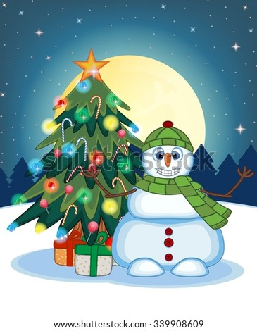 Snowman Wearing A Green Hat And Green Scarf Waving His Hand With Christmas Tree  And Full Moon At Night Background For Your Design Vector Illustration - stock vector