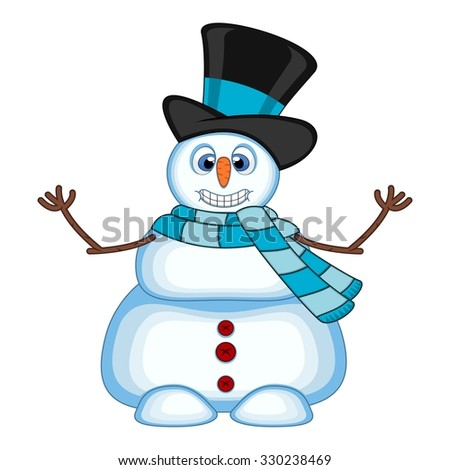 Snowman wearing a hat and blue scarf waving his hand for your design vector illustration