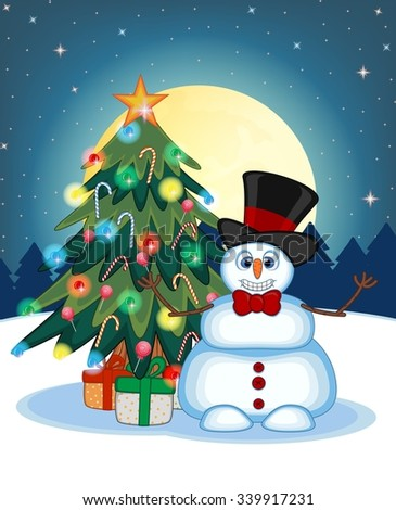 Snowman Wearing A Hat And Bow Ties With Christmas Tree  And Full Moon At Night Background For Your Design Vector Illustration
