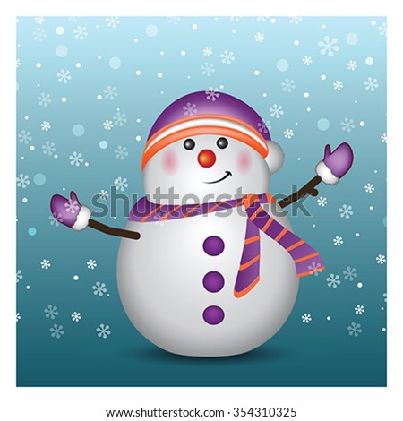 Snowman wearing Santa hat and gloves - background, vector - stock vector