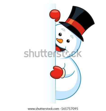 Snowman wearing top hat peeking from a blank sign, vector illustration - stock vector