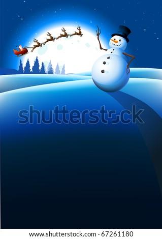 Snowman Winter Background. Vector illustration - stock vector