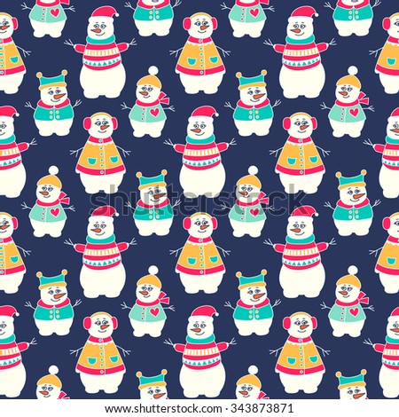 Snowman winter seamless pattern. Hand drawn doodle snowmen family. Bright colors - red, yellow, green and white. Vector background for kids. - stock vector