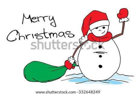 Snowman, Winter snowman, christmas santa snowman - stock vector