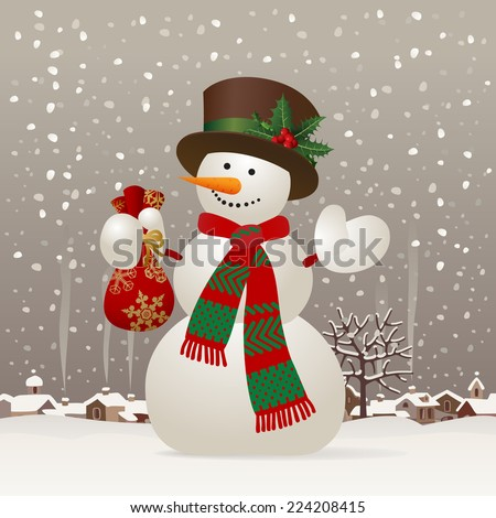Snowman with a red scarf and hat against the winter landscape. Christmas & New-Year's greeting card. Vector illustration - stock vector