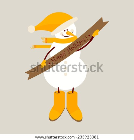 Snowman with a ribbon. Happy Holidays! icon - stock vector