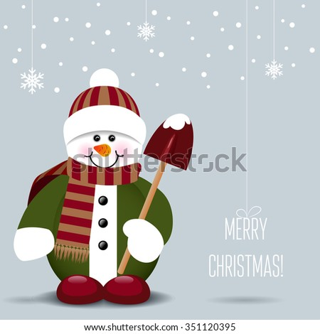 Snowman with a shovel isolated on snowy background. Vector illustration - stock vector