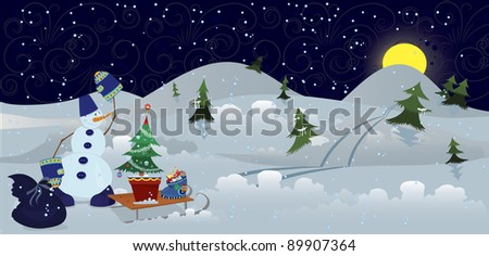 Snowman with bag and sleds in the night banner