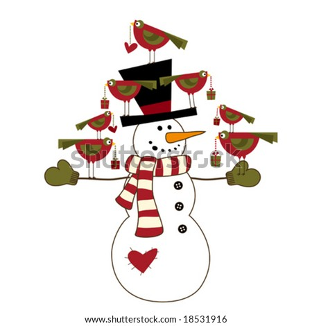 Snowman with birds - stock vector