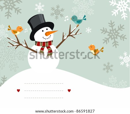 Snowman with birds illustration with blank lines to write on snowy background. Vector file available. - stock vector