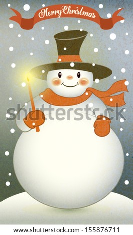 Snowman with Christmas Candle - Retro-style illustration of a cute fat snowman, with top hat, wool shawl and gloves, holding Christmas candle on a snowy winter day - stock vector