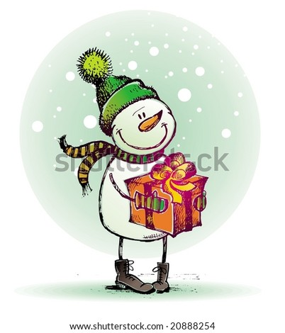 Snowman with gift - stock vector