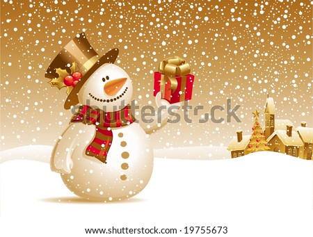 Snowman with gift for you - stock vector