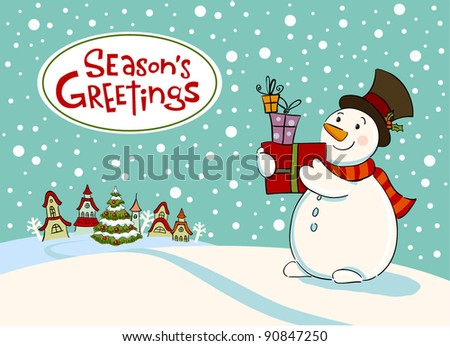 Snowman with gifts, Vector Greeting car