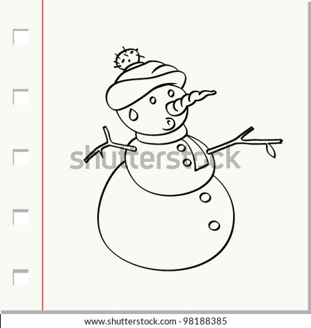 snowman with hat - stock vector
