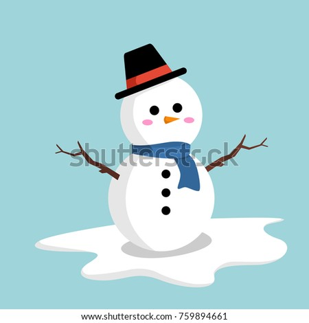 snowman with hat and blue scarf vector design