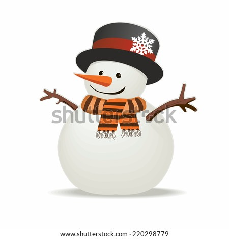 Snowman with hat and striped scarf isolated on white background. Vector illustration. - stock vector