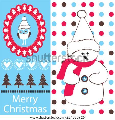 snowman with owl merry christmas card vector illustration - stock vector