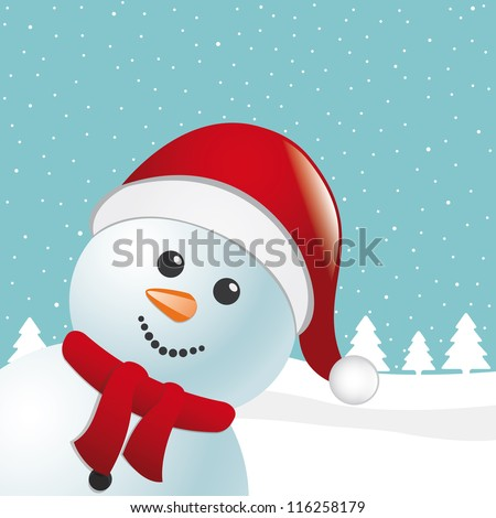 snowman with scarf - stock vector