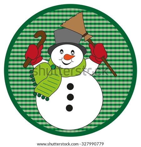 Snowman with scarf on dark green button on white background