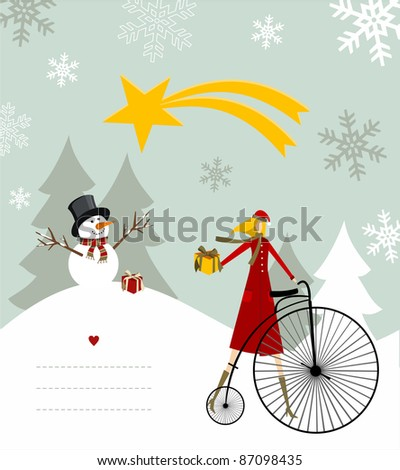 Snowman with star and gift on a bicycle illustration with blank lines to write on snowy background. Vector file available. - stock vector