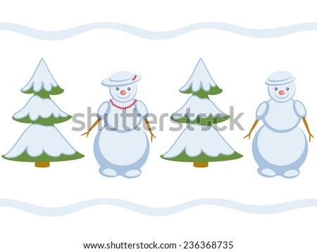 Snowmans repeating pattern - stock vector