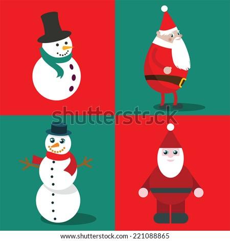 Snowmen and Santa - stock vector