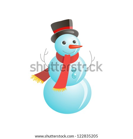 Snowmen on the white background - stock vector