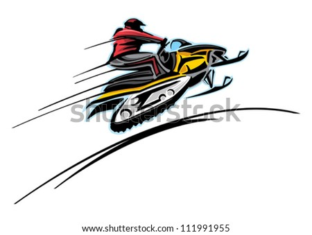 Snowmobile racing - stock vector