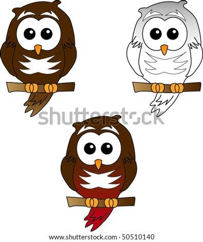 Snowy and barn owl vector - stock vector