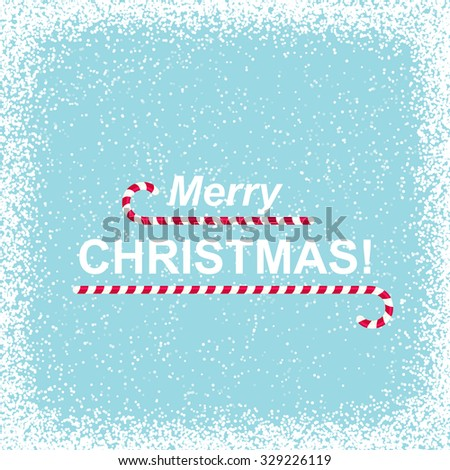 Snowy Background with Merry Christmas - stock vector