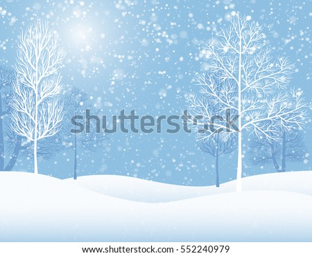 Snowy background with trees which brings atmosphere of Christmas and winter holidays