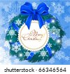 Snowy Christmas garland with snowflakes, blue bow and greeting card. Vector. - stock vector