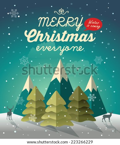 Snowy Christmas night scene with Christmas tree - stock vector