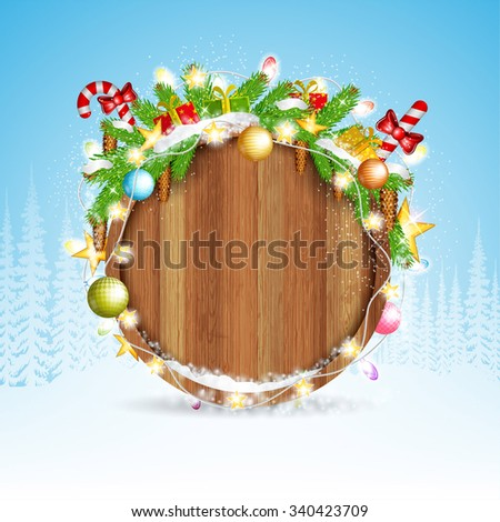 snowy fir tree branch cones and presents on round wood border. winter forest christmas background  - stock vector
