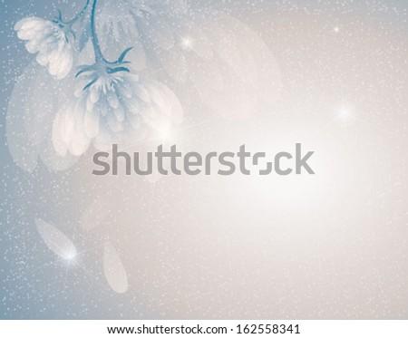 Snowy flowers / Romantic winter background - stock vector