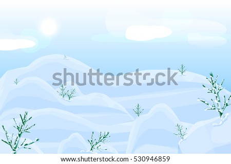 Snowy landscape with trees.